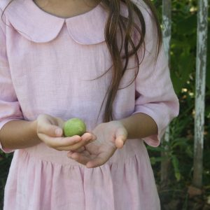 Linen dress with collar for girls 2